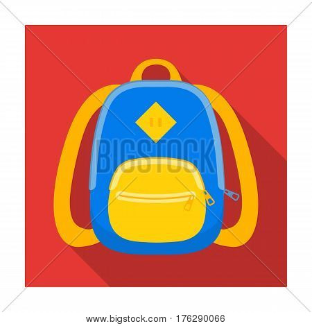 Blue school bag. A school bag for a book and notebooks.School And Education single icon in flat style vector symbol stock web illustration.