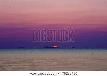 Seascape with Purple Sunset, Samui Island Thailand
