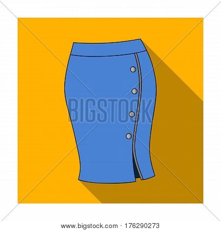 Blue-fitting skirt with slit and buttons. Part strict working style of clothing.Women clothing single icon in flat style vector symbol stock web illustration.