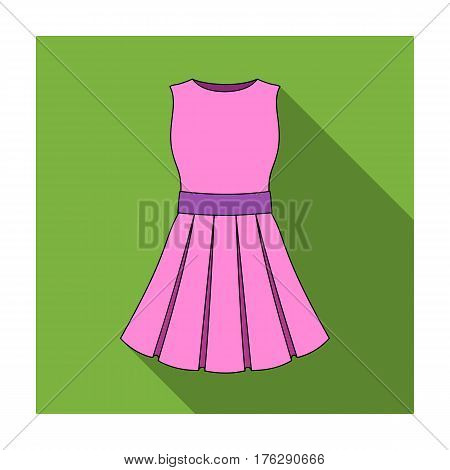 Beautiful light pink summer dress without sleeves. Clothing for a hike to the beach.Women clothing single icon in flat style vector symbol stock web illustration.