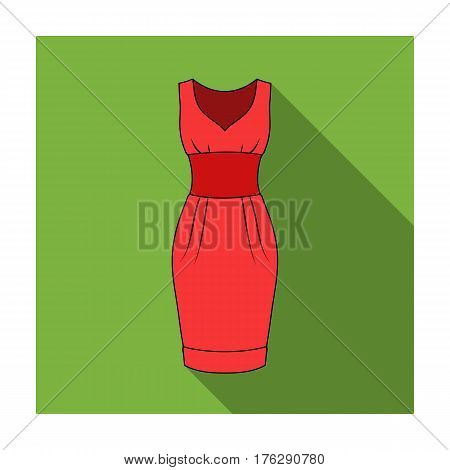 Red long evening dress for a hike in the theater. Women s sleeveless dress.Women clothing single icon in flat style vector symbol stock web illustration.