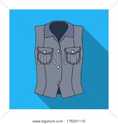 Women Sleeveless Sports Jacket .Beige button-down shirt without sleeves for the girl. Sport dress style.Women clothing single icon in flat style vector symbol stock web illustration.