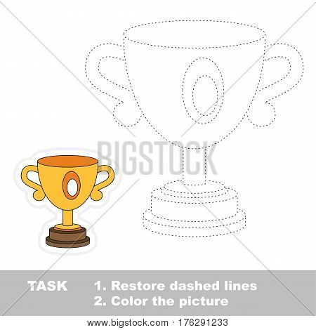 Winner cup in vector to be traced. Restore dashed line and color the picture. Trace game for children.