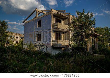 Ghost-town, abandoned houses, summer, Russia, Samara region
