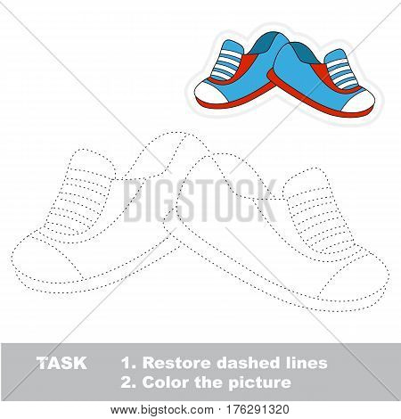 Shoes in vector to be traced. Restore dashed line and color the picture. The tracing game for preschool children with easy game level.