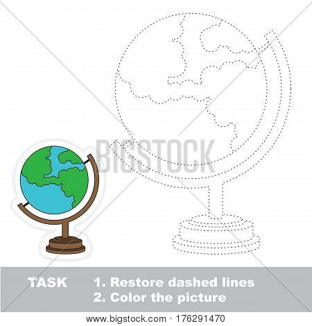 Globe in vector to be traced. Restore dashed line and color the picture. Tracing game for preschool children, easy game level.