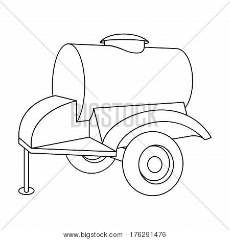 Black trailer on wheels with yellow barrel. Agricultural machinery for watering plants.Agricultural Machinery single icon in outline style vector symbol stock web illustration.