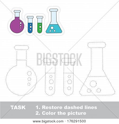 Vials in vector to be traced. Restore dashed line and color the picture. Tracing game for preschool children, easy game level.
