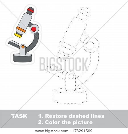 Microscope in vector to be traced. Restore dashed line and color the picture. Tracing game for preschool children, easy game level.