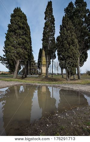 Bolgheri, Leghorn - Obelisk In Memory Of The Poet Carducci In San Guido, Tuscany, Italy