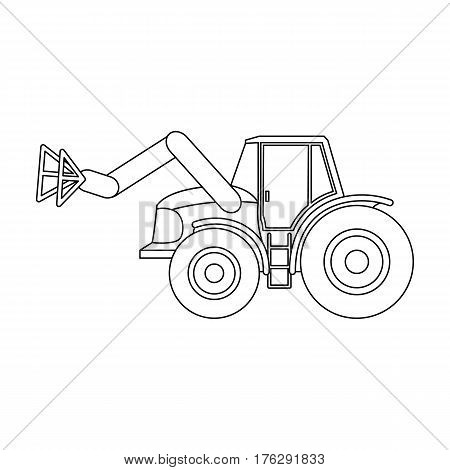 Combine with long hydraulic legs to capture the hay.Agricultural Machinery single icon in outline style vector symbol stock web illustration.