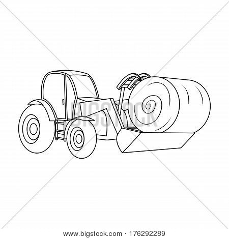Orange tractor with a ladle transporting hay bale. Agricultural vehicles.Agricultural Machinery single icon in outline style vector symbol stock web illustration.