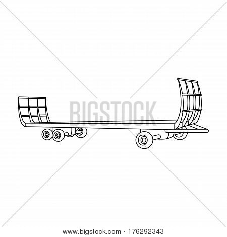 Specialized trailer on wheels for trucks for transportation of hay bales.Agricultural Machinery single icon in outline style vector symbol stock web illustration.
