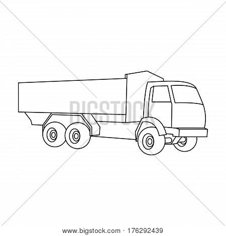 Pickup rural truck. Tow auto. Truck with orange body for the transport of agricultural crops.Agricultural Machinery single icon in outline style vector symbol stock web illustration.