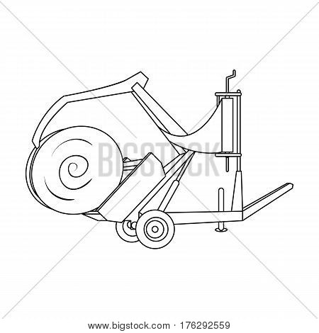 Modern agricultural machinery for  of hay and rolling circles.Agricultural Machinery single icon in outline style vector symbol stock web illustration.