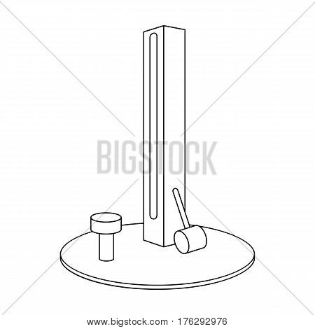 Entertainment on the impact force. Beat the hammer on the stand.Amusement park single icon in outline style vector symbol stock web illustration.