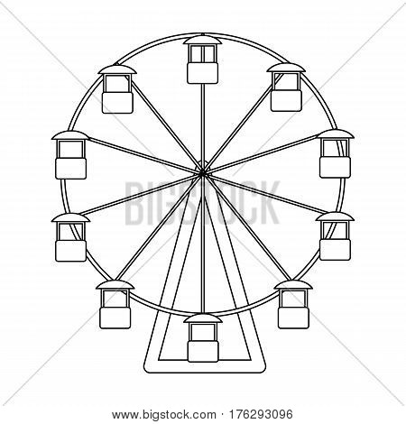 The wheel is in the amusement park. Slow attraction to explore the city.Amusement park single icon in outline style vector symbol stock web illustration.