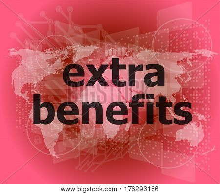 Extra Benefits Slogan Poster Concept. Financial Support Message Design