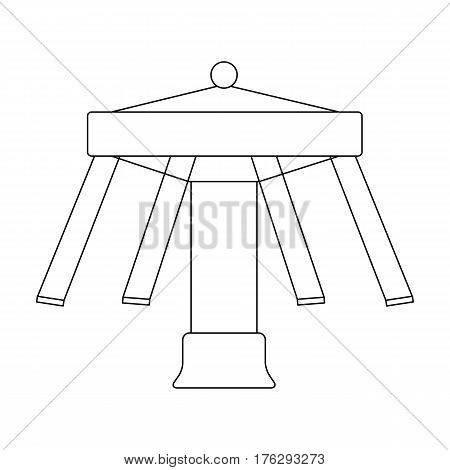 Carousel with seats on chains for children. Amusement park.Amusement park single icon in outline style vector symbol stock web illustration.