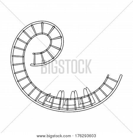 Roller coaster for children and adults. Dead loops, dangerous turns, terrible rides.Amusement park single icon in outline style vector symbol stock web illustration.