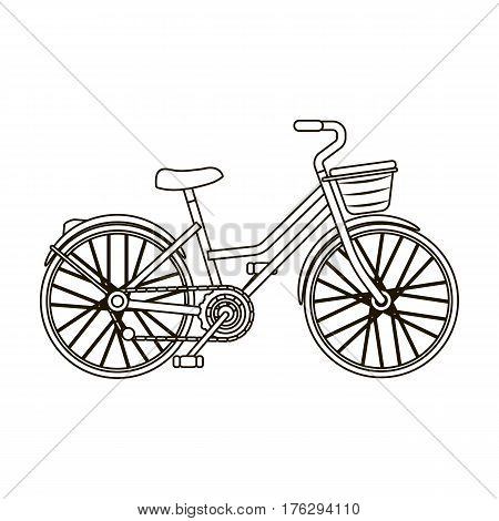 A red bicycle with wheels and basket. The eco-friendly transport.Different Bicycle single icon in outline style vector symbol stock web illustration.