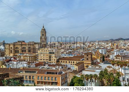 The Cathedral of Malaga is a Renaissance church in the city of Malaga in Andalusia in southern Spain.It was constructed between 1528 and 1782. View from Alcazaba