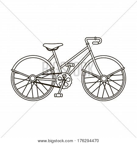 Walking bicycle with large shields and curves driving. Economical transport.Different Bicycle single icon in outline style vector symbol stock web illustration.