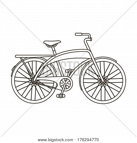 Road bike for walking with a semicircular frame.Different Bicycle single icon in outline style vector symbol stock web illustration.