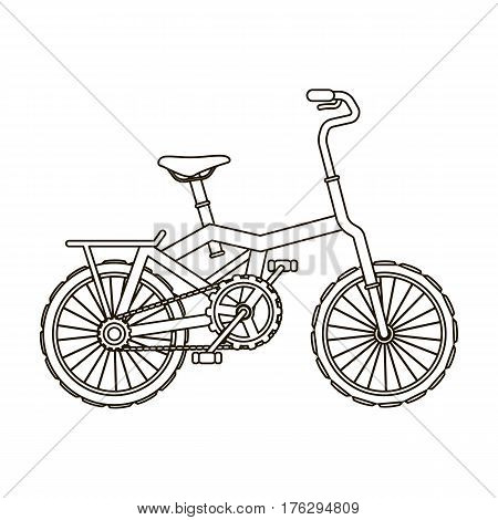 Little orange children s bicycle. Bicycles for children and a healthy lifestyle.Different Bicycle single icon in outline style vector symbol stock web illustration.