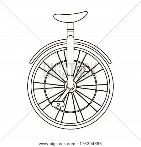 Unicycle for the circus. Bicycle with one wheel for performances.Different Bicycle single icon in outline style vector symbol stock web illustration.