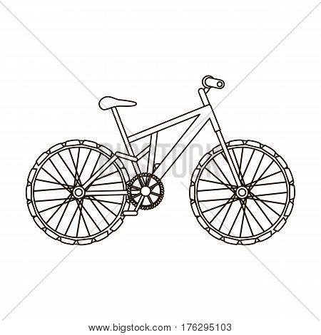 Mountain bike. Cycling downhill from the mountains.Different Bicycle single icon in outline style vector symbol stock web illustration.
