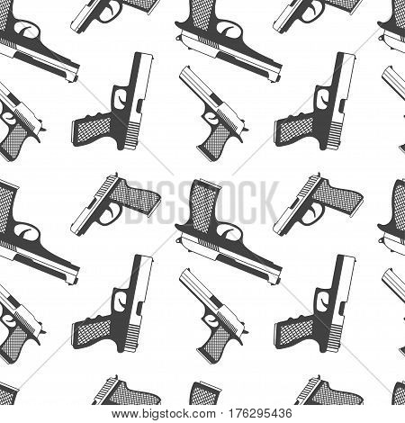 Army pattern with gun icons on white background