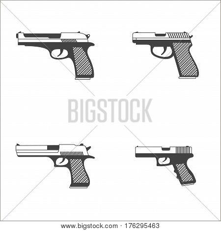 Black set of gun, pistols on white background