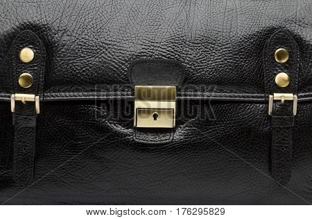 Closeup View Of Men Black Leather Handbag