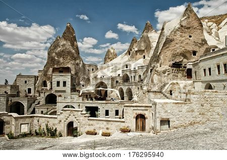 Open air museum in Goreme Cappadocia Turkey. Ancient caves now underground hotels for tourists