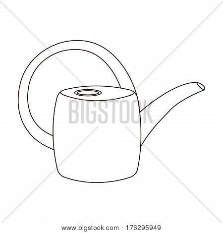 Green plastic watering can for watering flowers in the garden.Farm and gardening single icon in outline style vector symbol stock web illustration.