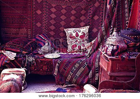 Carpet bazaar in Turkey. Oriental carpet pillow blanket jewelry for sale