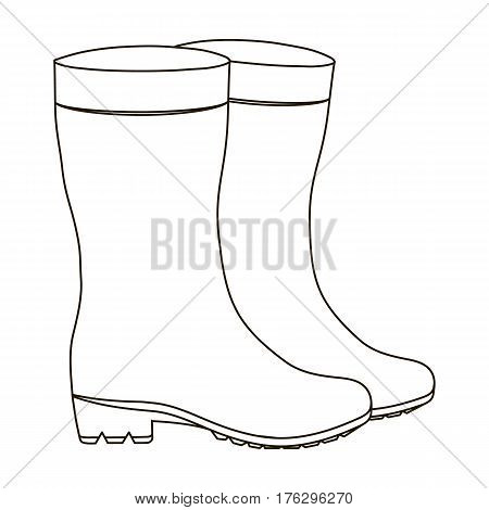 Yellow rubber waterproof boots for women to work in the garden.Farm and gardening single icon in outline style vector symbol stock web illustration.