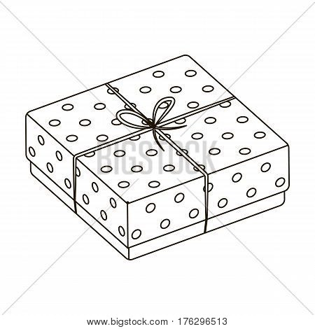 Purple gift for polka dots. Gift wrap on holiday.Gifts and Certificates single icon in outline style vector symbol stock web illustration.