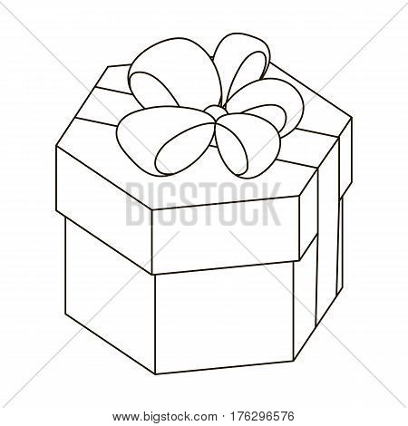A yellow festive gift in a purple ribbon.Gifts and Certificates single icon in outline style vector symbol stock web illustration.