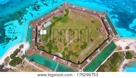Dry Tortugas National Park, Fort Jefferson. Aerial view. Florida. USA.