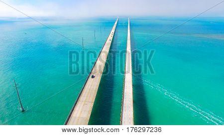 Seven Miles bridge. Florida Keys. Aerial photo