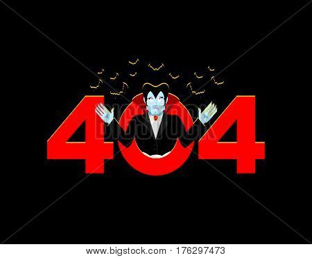 Error 404. Vampire Surprise. Page Not Found Template For Web Site. Dracula Does Not Know And Is Surp
