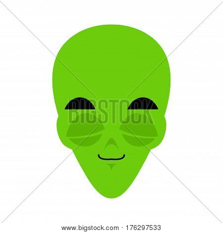Ufo Sleeping Emoji. Green Alien Face Asleep Emotion. Martian Avatar