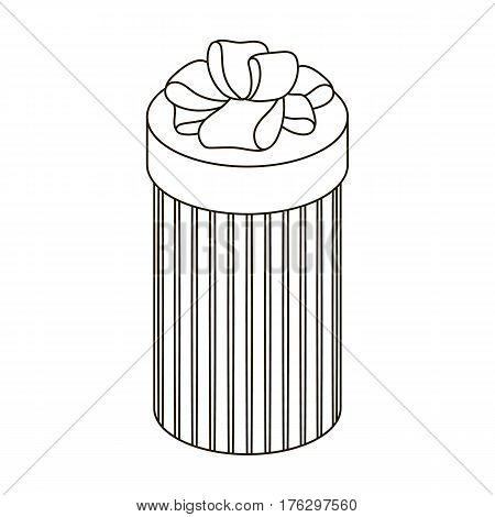 Brown box in the form of a cylinder. Gift wrapping for coffee.Gifts and Certificates single icon in outline style vector symbol stock web illustration.