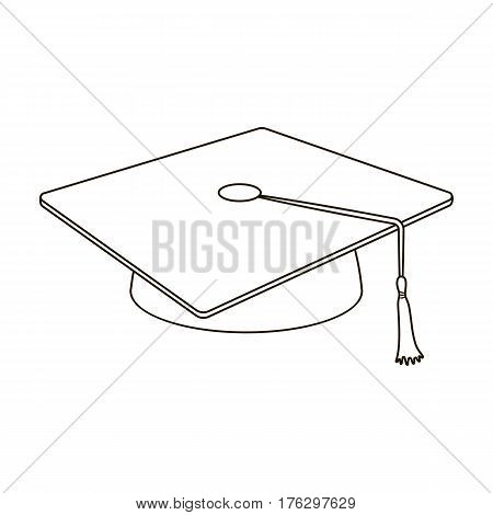 Blue beret with a rope in the center. Cap student . School uniform .School And Education single icon in outline style vector symbol stock web illustration.
