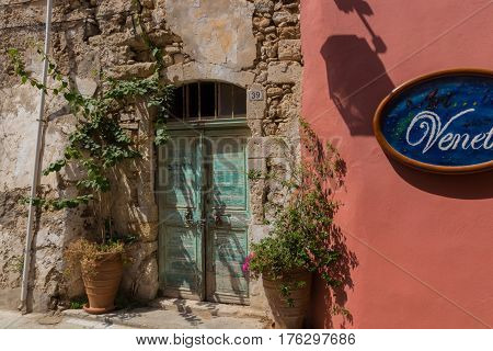 Rethymno, Greece - August  3, 2016:  Ancient Building In Old Town.