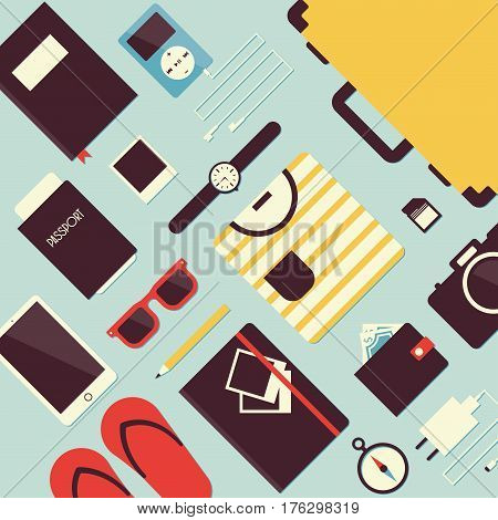 Summer travel flat vector illustration. Set of travel equipment: suitcase / trunk, glasses, watches, passport, phone, player, headphones, purse, camera, adapter, compass, notebook, photos, t-shirt.