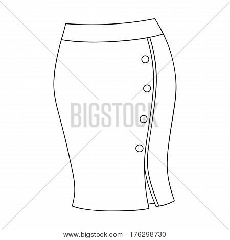Blue-fitting skirt with slit and buttons. Part strict working style of clothing.Women clothing single icon in outline style vector symbol stock web illustration.