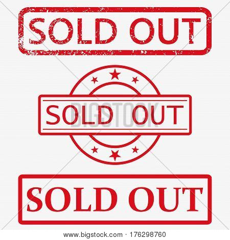 sold out. stamp. red round grunge vintage sold out sign.